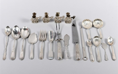 NINE PIECES OF KIRK 'OLD MARYLAND ENGRAVED' SILVER FLATWARE, FOUR MEXICAN SILVER BURRO-FORM TOOTHPICK HOLDERS AND EIGHT OTHER PIECES