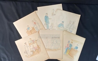OCEAN LINER: Set of six 20th cent, sketches heightened with ...