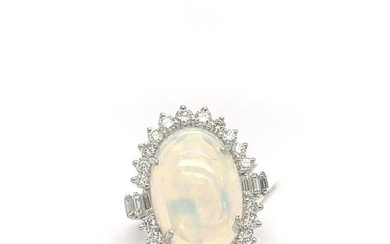 Opal Oval and Diamond Ring