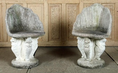 PAIR CAST STONE GROTTO CHAIRS WINGED SERPENTS