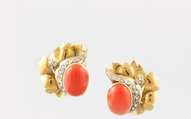 PAIR OF CORAL, DIAMOND AND GOLD EARRINGS