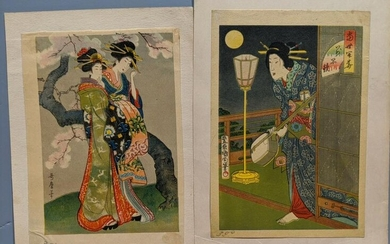 Pair Old Japanese Small Woodblock Prints of Women