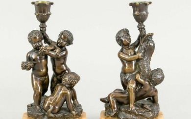 Pair of 19th c. figural candle