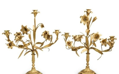 Pair of French Bronze Floral Candelabras