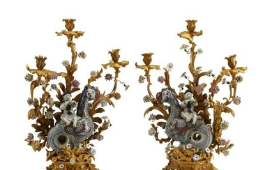 Pair of Louis XV Style Dore Bronze and Porcelain