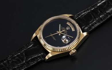 ROLEX, A GOLD OYSTER PERPETUAL DAY-DATE WITH ONYX DIAL AND HEBREW CALENDAR, REF. 18038