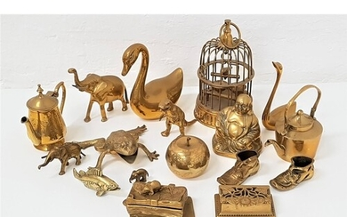SELECTION OF DECORATIVE BRASS WARE including a pierced Art N...