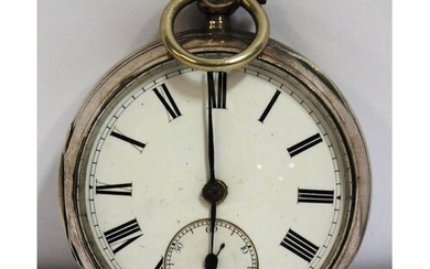 SILVER POCKET WATCH BLUE STEEL HANDS AND SUB SECOND