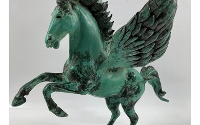 SPECTACULAR! A LAURENCE BRODERICK rearing PEGASUS bronze st...
