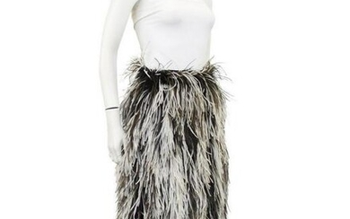 Saks Fifth Avenue Black and white ostrich feather skirt