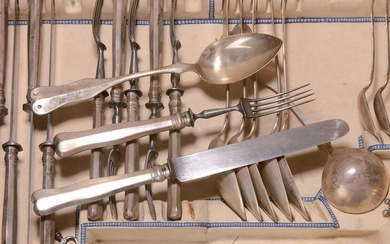 Silver cutlery for 6 people, Vienna, around 1870/80,...