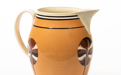 Slip-decorated Creamware Dipped Fan Pitcher