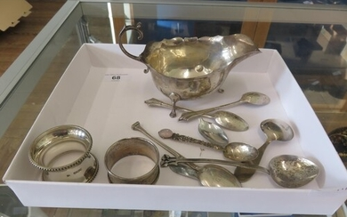 Small Lot of Silver items, Napkin Rings Gravy Boat and Spoon...