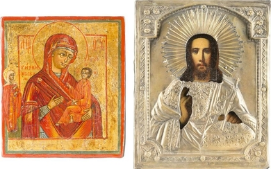 TWO ICONS SHOWING THE TIKHVINSKAYA MOTHER OF GOD AND