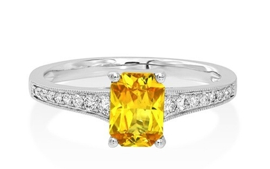 Yellow Sapphire Ring set with 1.1ct. yellow sapphire and 0.1...