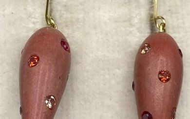 18 kt. Yellow gold - Earrings Coral - Citrines, Rubies