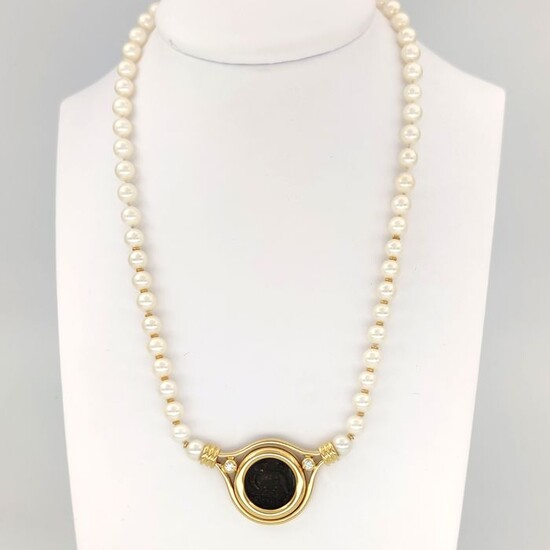18 kt. Yellow gold - Necklace - 0.20 ct Diamonds - Akoya pearls 6.40 mm - Antioch coin