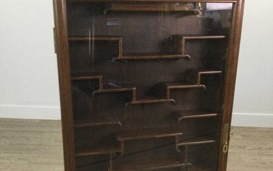 A 20TH CENTURY CHINESE WALL MOUNTING DISPLAY CABINET
