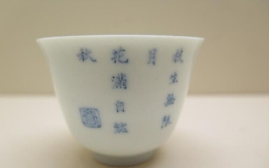 A Chinese 19th Century blue and white character decorated cu...