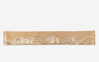 A Chinese embroidered panel depicting the eight Daoist Immortals with dragon 道教八仙刺绣