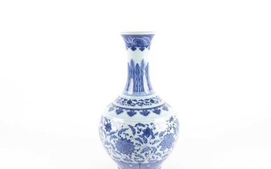 A Chinese porcelain blue & white lotus vase, late Qing, the ...