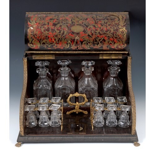A French boulle liqueur cabinet, with brass mounts, the serp...