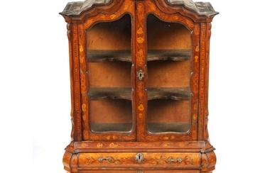 A MINIATURE 18TH CENTURY WALNUT AND DUTCH MARQUETRY CABINET ...