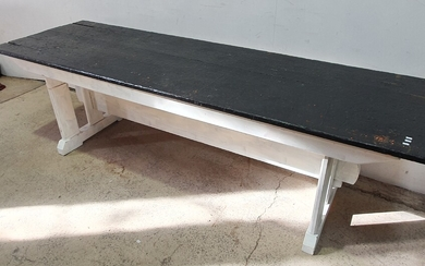 A PAINTED PINE STRETCHER BASED TABLE