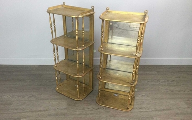 A PAIR OF VICTORIAN GILT PAINTED HANGING WALL SHELVES