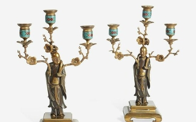 A Pair of French Enameled and Gilt Metal Figural