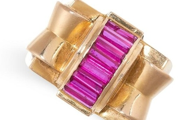 A RETRO SYNTHETIC RUBY COCKTAIL RING, CIRCA 1945 in