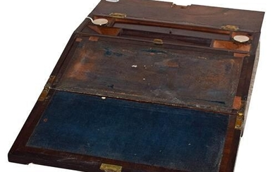 A Victorian Rosewood and Mother-of-Pearl Inlaid Writing Slope, of rectangular...
