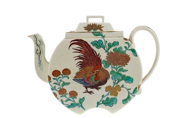 A WEDGWOOD AESTHETIC MOVEMENT EARTHENWARE TEAPOT AND COVER