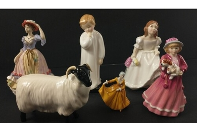 A collection of figurines to include ROYAL DOULTON a signed ...
