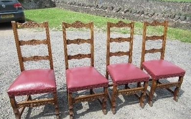 A harlequin set of 8 Arts and Crafts style dining chairs, wi...