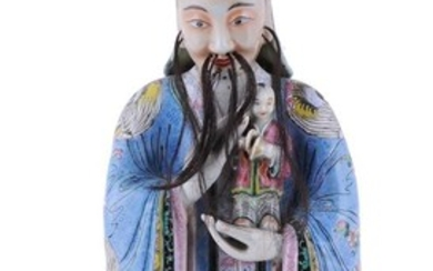 A large Chinese famille rose standing figure