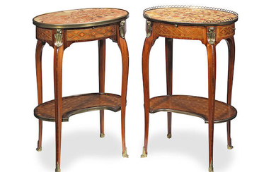 A near pair of French late 19th century ormolu mounted kingwood, tulipwood and stained fruitwood inlaid tables ambulantes