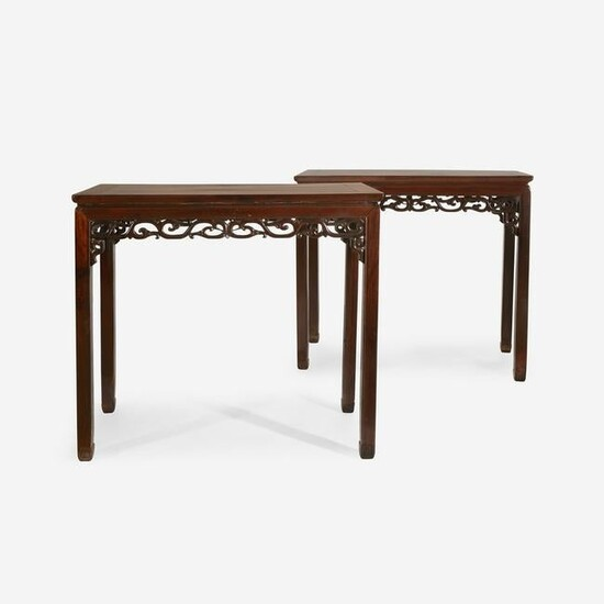 A pair of Chinese hardwood rectangular side tables