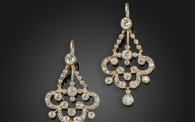 A pair of late Victorian diamond earrings