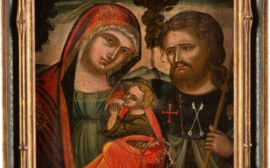 AN ICON SHOWING THE BREAST-FEEDING MOTHER OF GOD WITH ST....