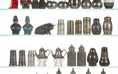 ASSORTED METAL SALT / PEPPER SHAKERS, LOT OF 35