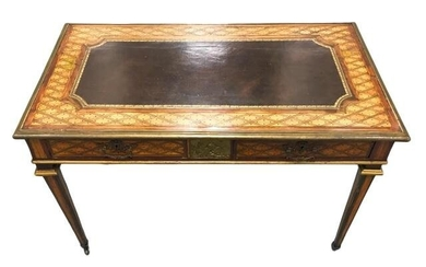Antique Early 19th C Marquetry Inlaid Desk Table