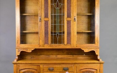 British Stained Glass Step back Cupboard