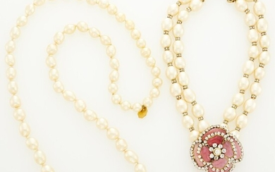 Chanel Two Gilt-Metal Glass Imitation Pearl, Gripoix and Strass Necklaces
