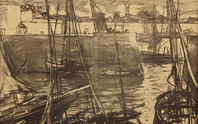 """Charles Henri FROMUTH (1866-1937) """"Tangled boats, near the pier"""" charcoal sbg 23 Nov 1908 31.5x45"""