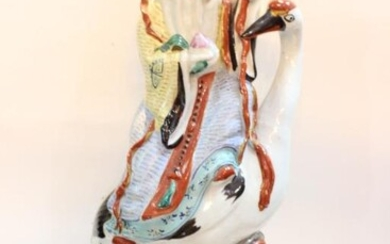 Chinese Famille Rose Porcelain Shou Figural Statue