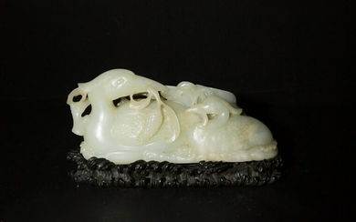 Chinese Jade Carved Cranes with Zitan Base, 18th