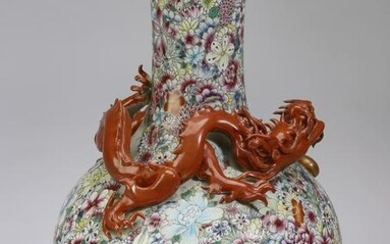 Chinese famille rose dragon and mille fleur vase