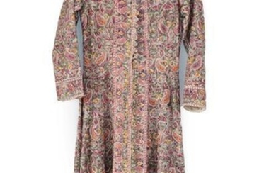 Circa 1940 Indian Embroidered Long Coat with nehru collar, long...