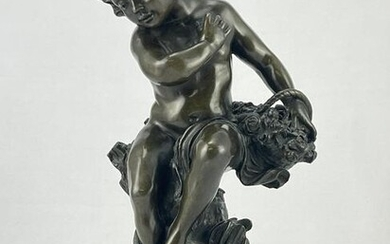 Classical Bronze Statue Boy With Basket